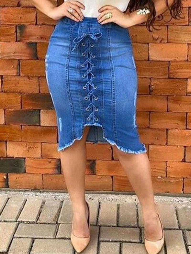 Ericdress Asymmetrical Denim Plain Lace-Up Mid Waist Skirt