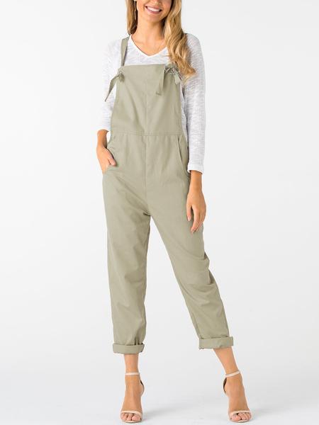 Yoins Khaki Square Neck Sleeveless Overall Outfits