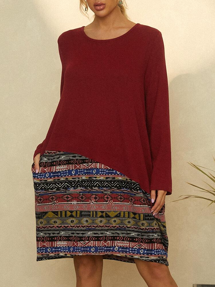Vintage Printed Long Sleeve O-neck Patchwork Midi Dress
