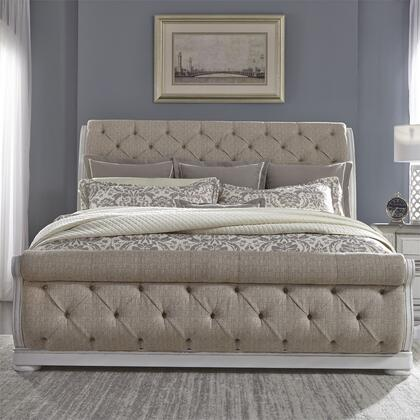 Abbey Park 520-BR-QUSL Queen Size Upholstered Bed with Tufted Chenille Headboard and Footboard  Block Feet in Antique White