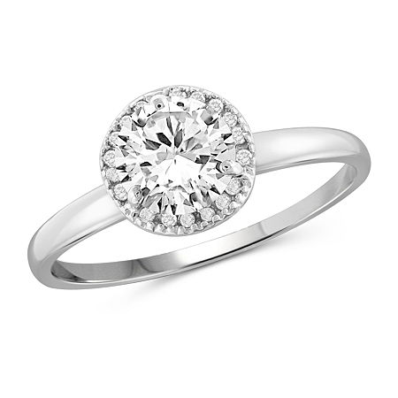 Womens 1 3/4 CT. T.W. White Cubic Zirconia Sterling Silver Engagement Ring, 6 , No Color Family