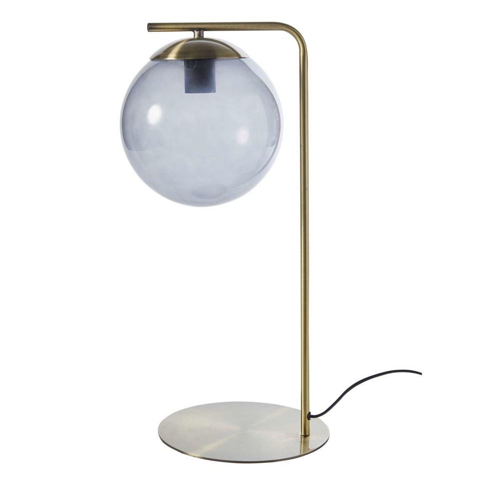 Lampe aus goldfarbenem Metall mit Kugelschirm aus Rauchglas