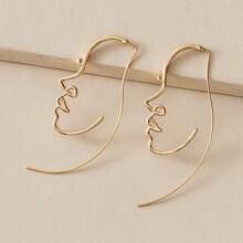 1 Paar Aushohlen Face Design Ohrringe
