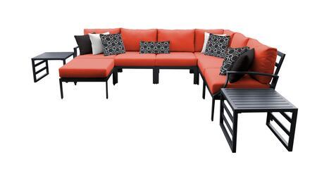 Lexington LEXINGTON-09b-TANGERINE 9-Piece Aluminum Patio Set 09b with 1 Left Arm Chair  1 Right Arm Chair  1 Corner Chair  3 Armless Chair  1 Ottoman