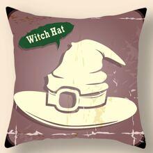 Kissenbezug mit Halloween Hexen Hut Muster ohne Fuellstoff