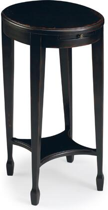 Arielle Collection 1483136 Accent Table with Transitional Style  Oval Shape and Wood Veneer in Plum Black