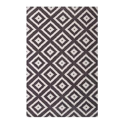 Alika Collection R-1004E-58 Abstract Diamond Trellis 5x8 Area Rug in Ivory and Charcoal