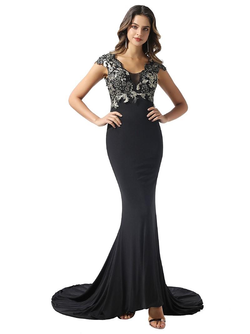Ericdress Cap Sleeves Floor-Length Mermaid Appliques Formal Dress 2020