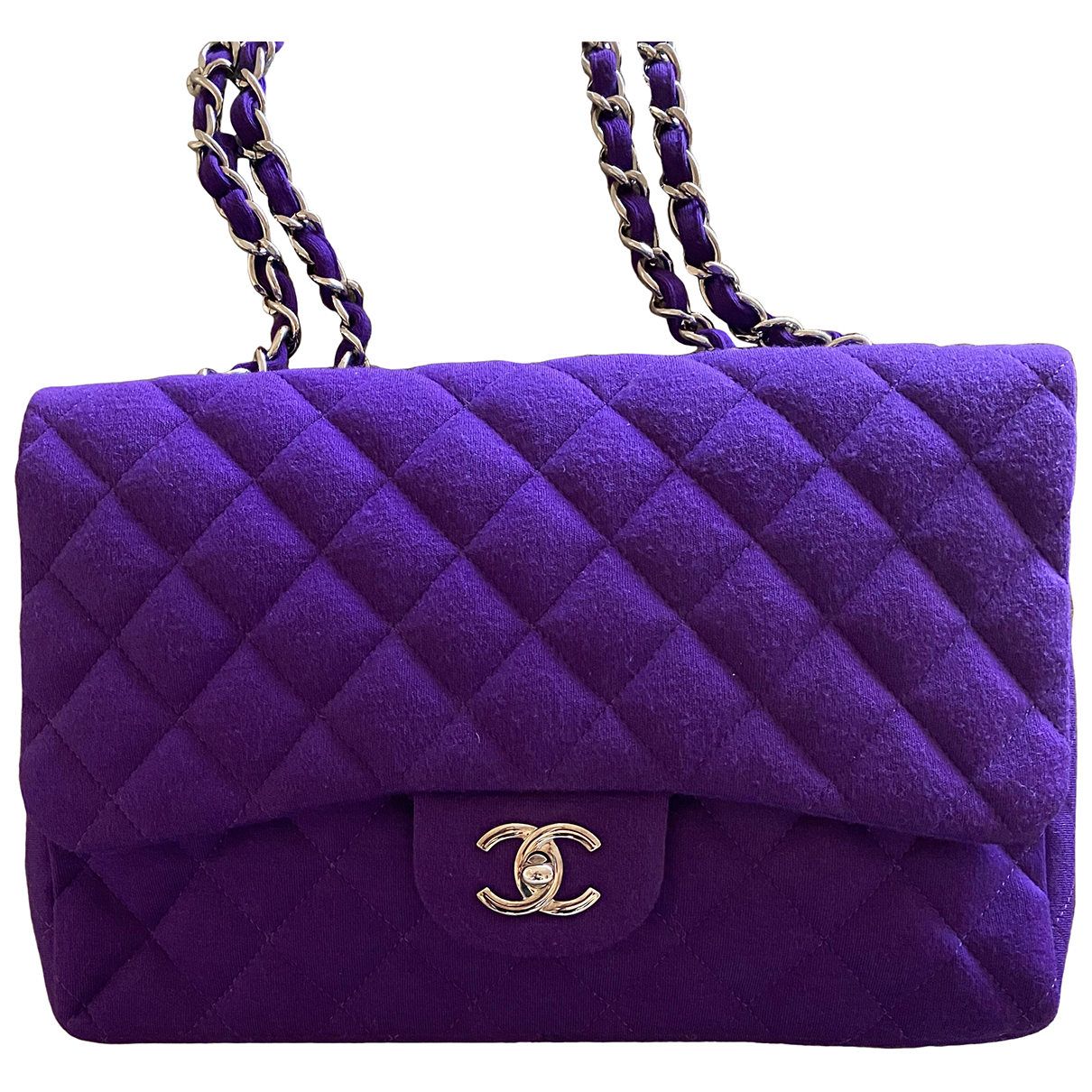 Chanel Timeless/Classique Handtasche in  Lila Wolle