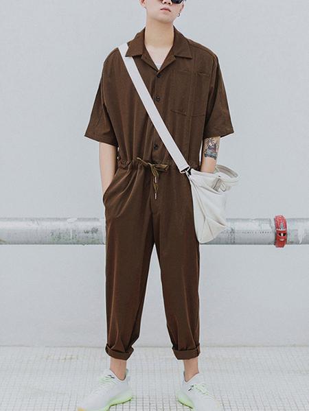 Yoins Men Japanese Retro Half Sleeve Drawstring Overalls Jumpsuit