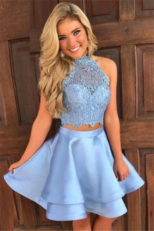 Lindos vestidos de fiesta de dos piezas   Vestidos Hoco De Cuello Halter Azul