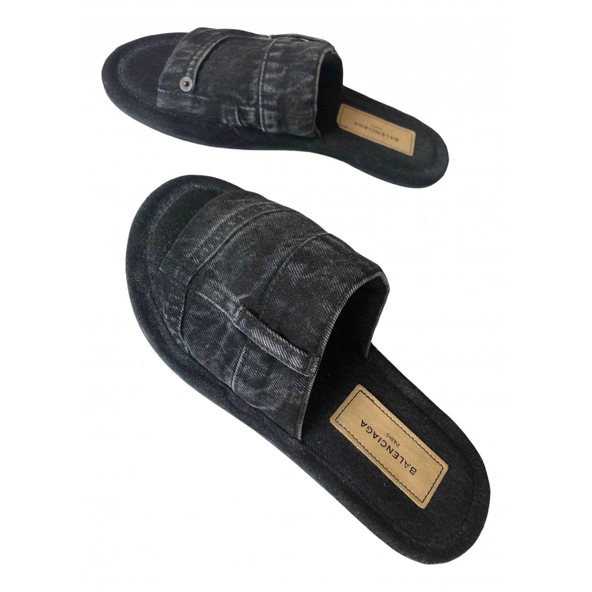 Balenciaga - Sandales   pour homme en toile - noir