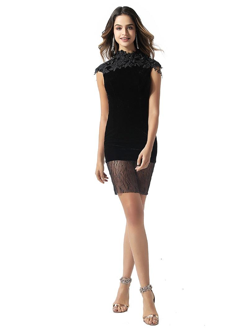 Ericdress High Neck Lace Column Black Cocktail Dress 2020