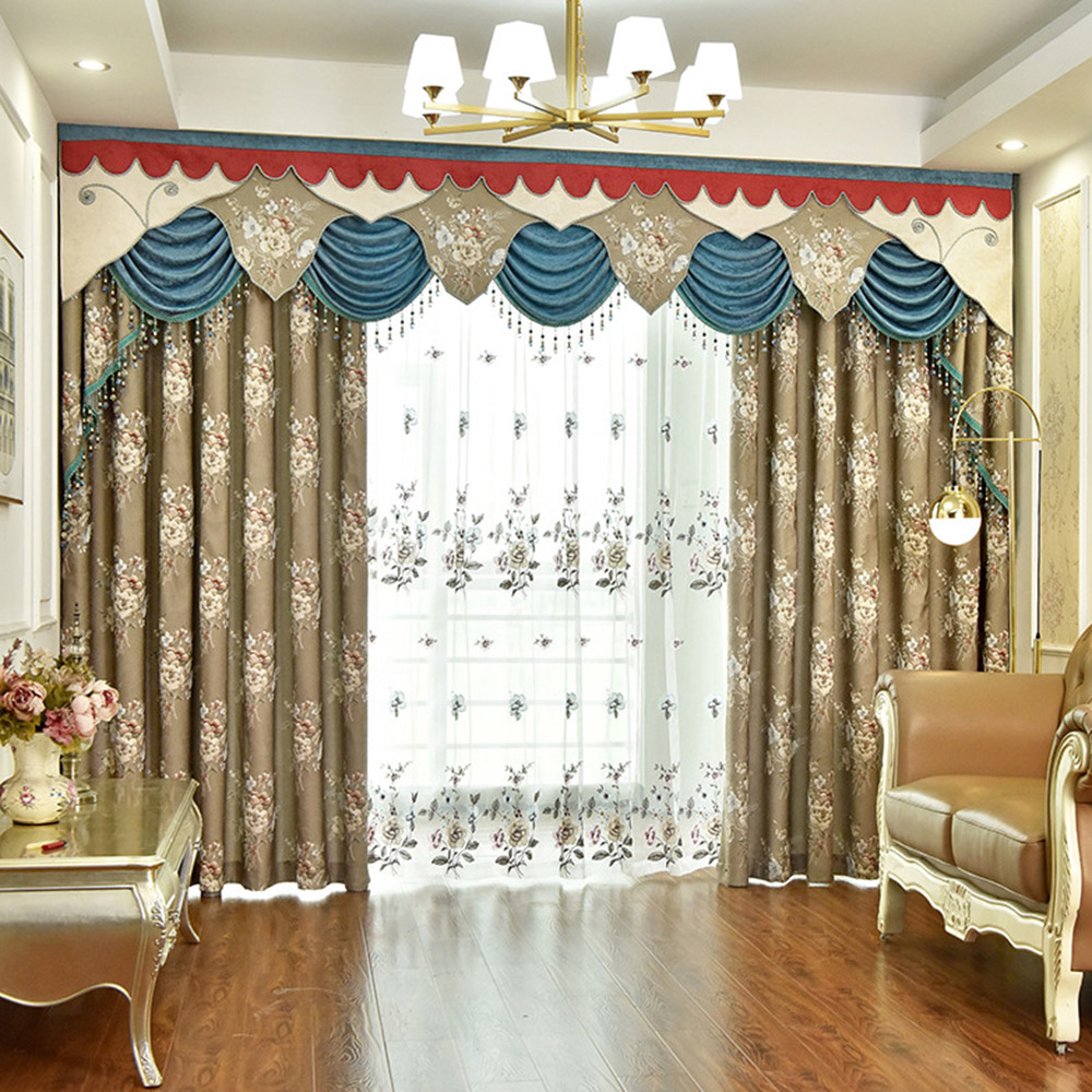 European Luxury Jacquard Blackout Curtains for Living Room Custom 2 Panels Drapes No Pilling No Fading No off-lining