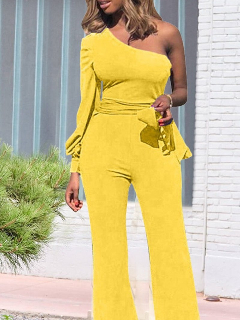 Ericdress Western Lace-Up Full Length Straight Mid Waist Jumpsuit