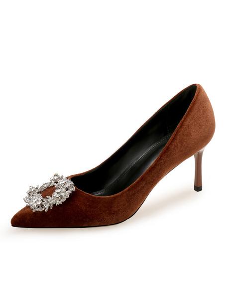 Milanoo Women High Heel Velvet Pointed Toe Rhinestones Slip On Pumps