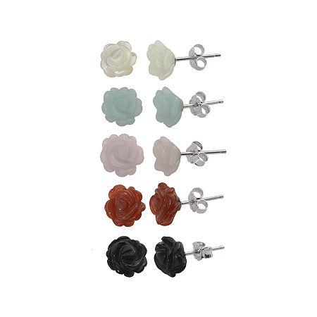 Multi-Gemstone Flower 5-pr. Stud Earring Set, One Size , No Color Family
