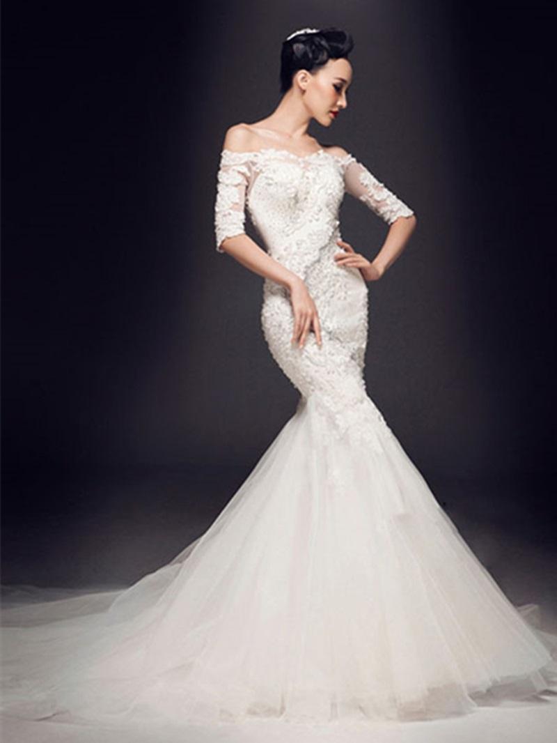 Ericdress Mermaid Off-The-Shoulder Appliques Beadings Wedding Dress