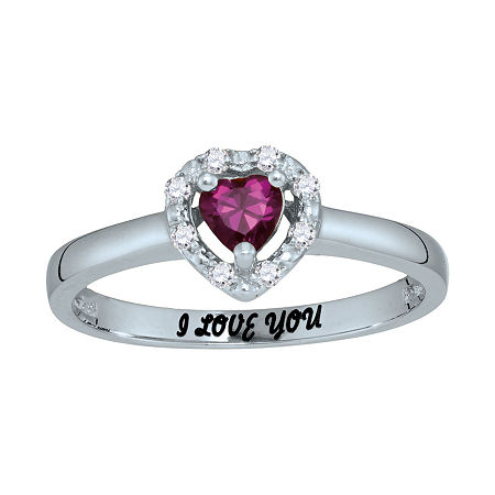 Personalized Simulated Birthstone & Cubic Zirconia Heart Halo Ring, 7 , White