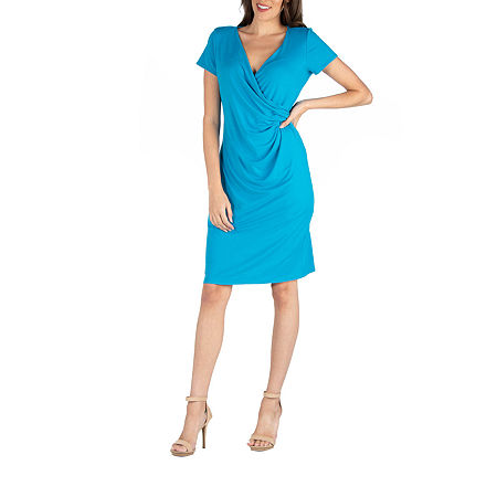 24/7 Comfort Apparel Cap Sleeve Faux Wrapover Dress, Small , Blue
