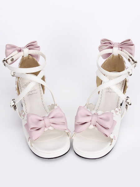 Milanoo Sweet White Lolita Sandals Square Heels Ankle Straps Pink Bows