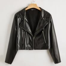 Plus Solid Zip Up PU Leather Moto Jacket