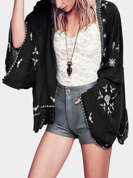 Yoins Black Embroidered Kimono With Lace Hem