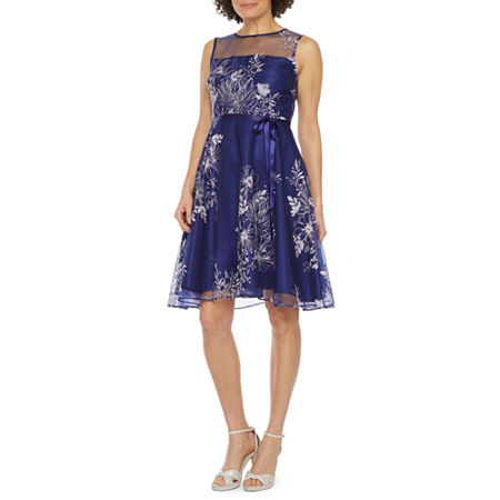 J Taylor Sleeveless Embroidered Floral Fit & Flare Dress, 10 , Blue