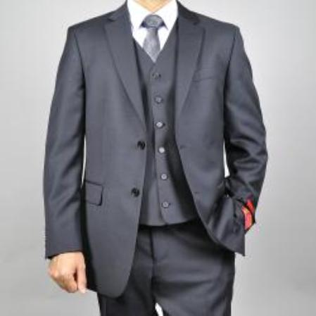 Mens Black Vested Wool Suit