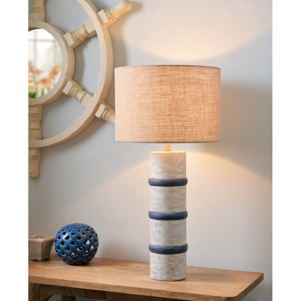 Phoebe Weathered White and Royal Blue 31 Inch Table Lamp (Weathered White and Blue)