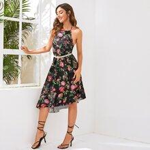 Kleid mit Neckholder, Perlenguertel, Raffungsaum und Blumen Muster