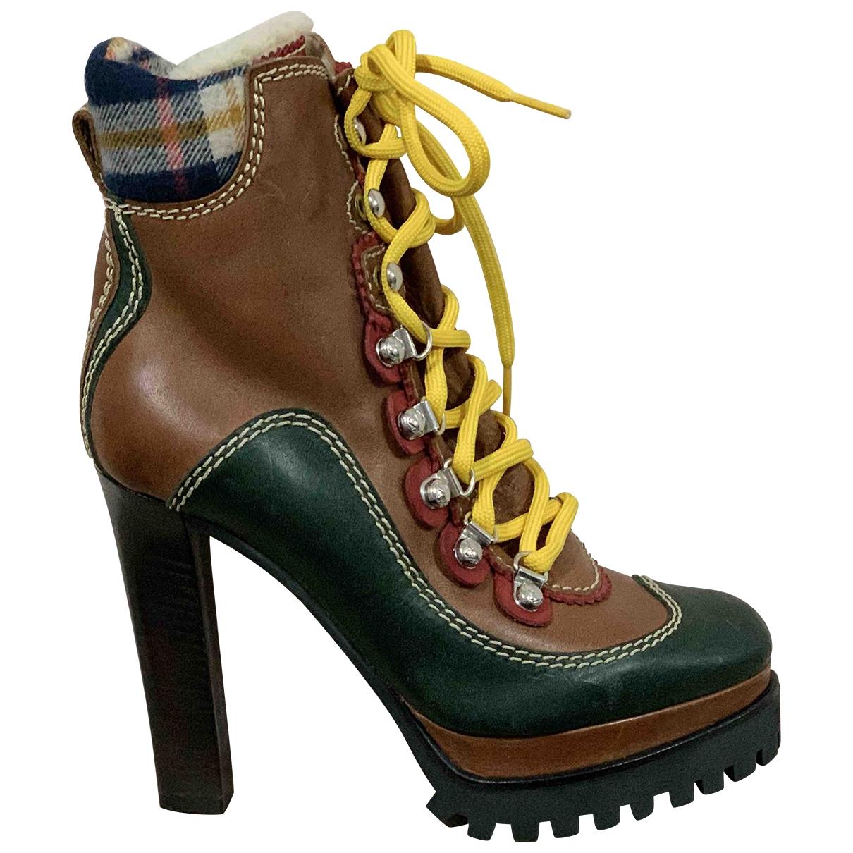 Dsquared2 - Boots   pour femme en cuir - marron