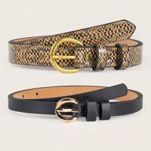 Cinturon con hebilla con estampado de piel de serpiente 2 piezas