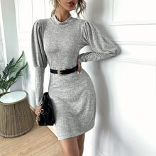 Leg-of-mutton Sleeve Fitted Dress Without Belted