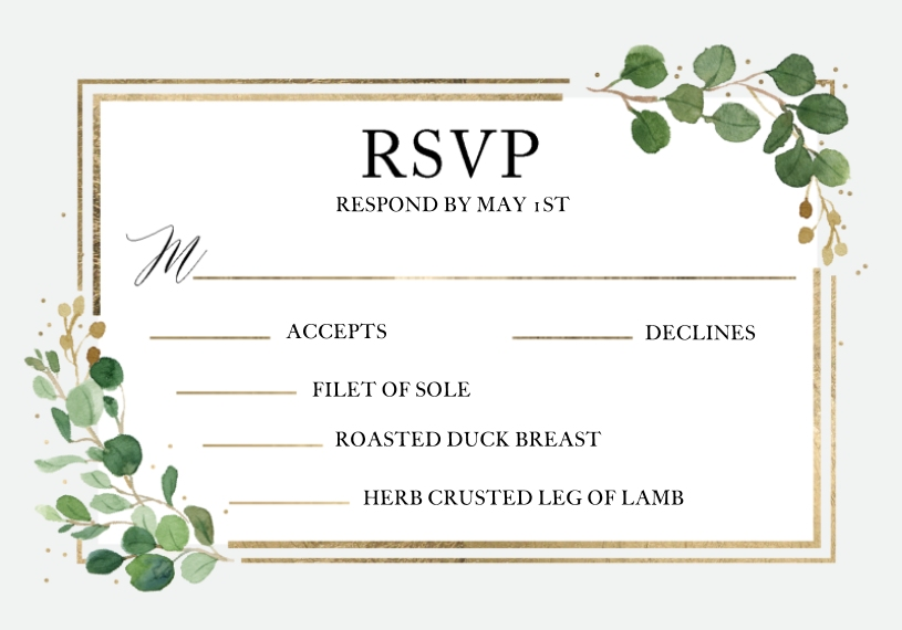 RSVP 3.5x5 Flat Notecard, Card & Stationery -Wedding RSVP Eucalyptus Border Meal Option by Tumbalina
