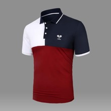 Men Cut And Sew Letter Embroidered Polo Shirt