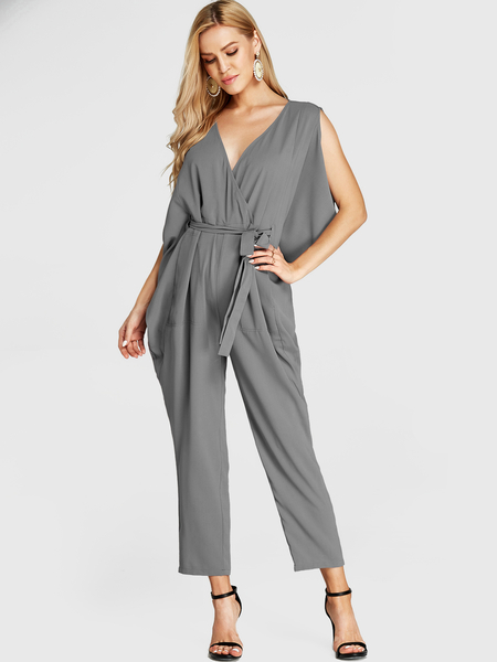 YOINS Grey Crossed Front Sleeveless Self-tie Design Jumpsuit