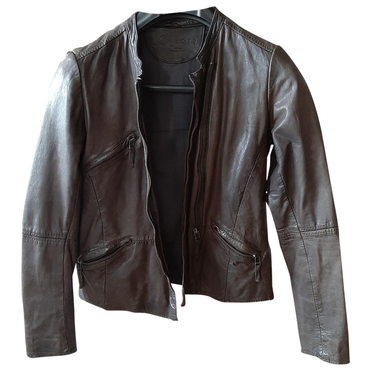 Les Petites \N Khaki Leather jacket for Women 36 FR