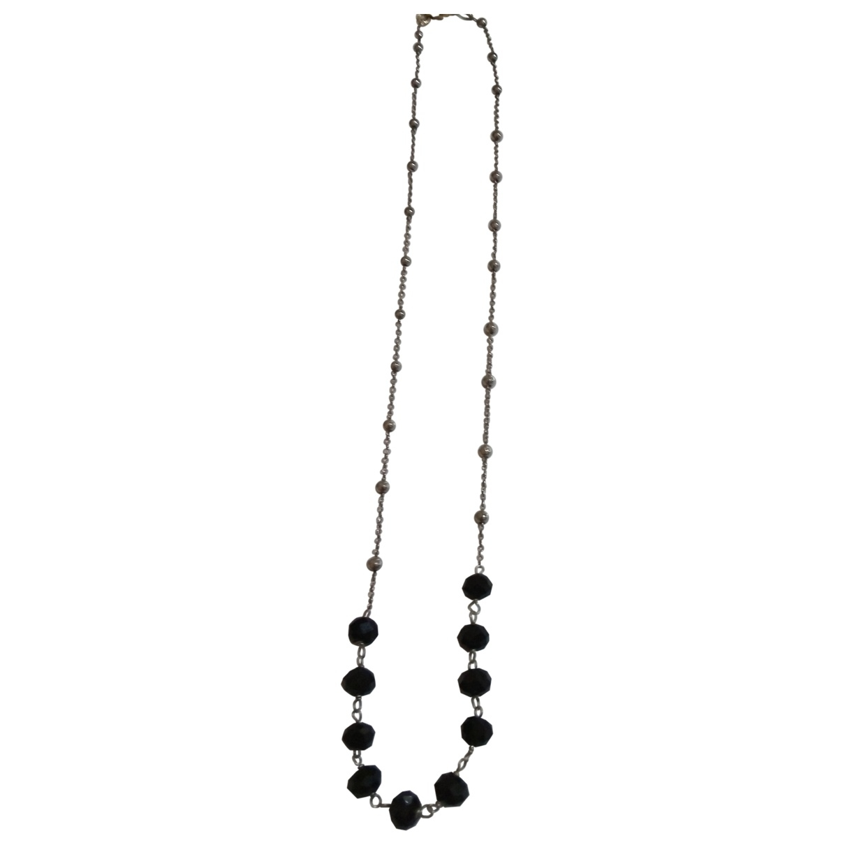 Non Signé / Unsigned \N Black Silver necklace for Women \N