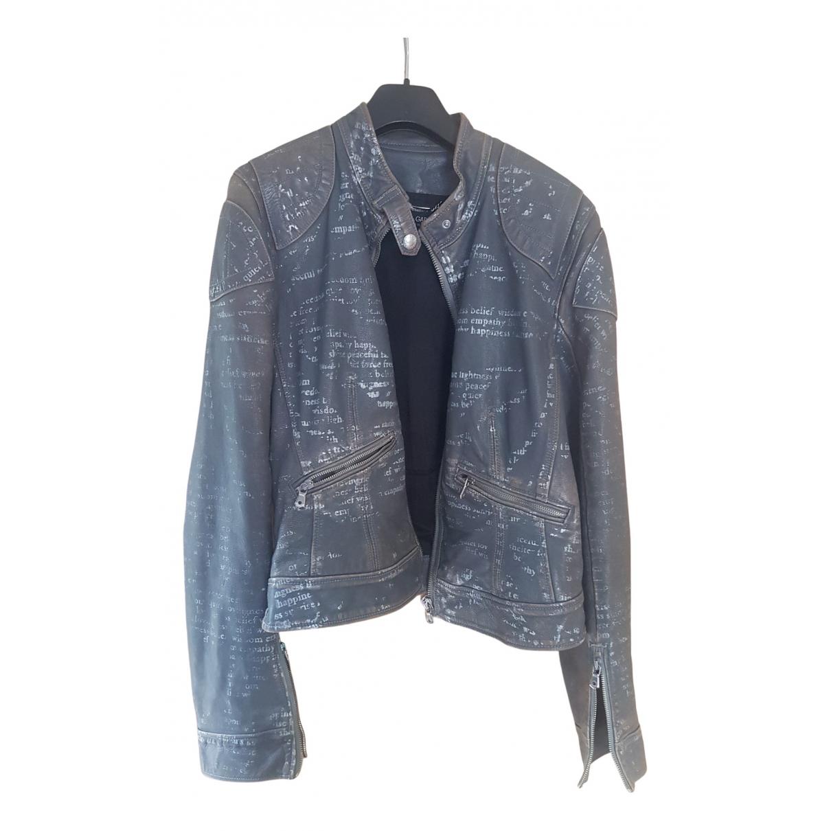 Dolce & Gabbana - Blouson   pour femme en cuir - gris