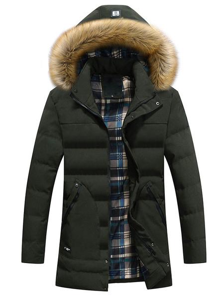 Milanoo Men's Quilted Jacket Deep Blue Hooded Long Sleeve Slim Fit Winter Jacket