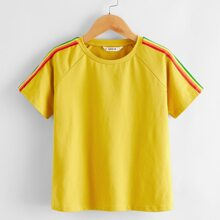 Boys Rainbow Striped Tape Raglan Sleeve Top