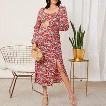 Umstandsmode Kleid mit Herzen Kragen, Schlitz und Blumen Muster