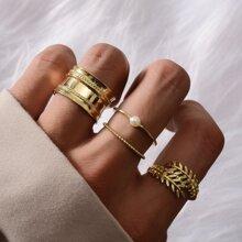4 Stuecke Ring mit Blatt Design