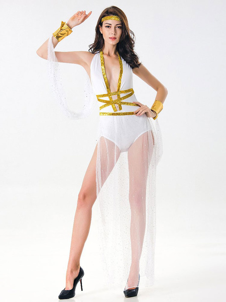 Milanoo White Greek Goddess Costume Halloween Women Sexy Jumpsuits Outfit