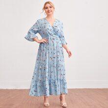 Kleid mit V Kragen und Blumen Muster