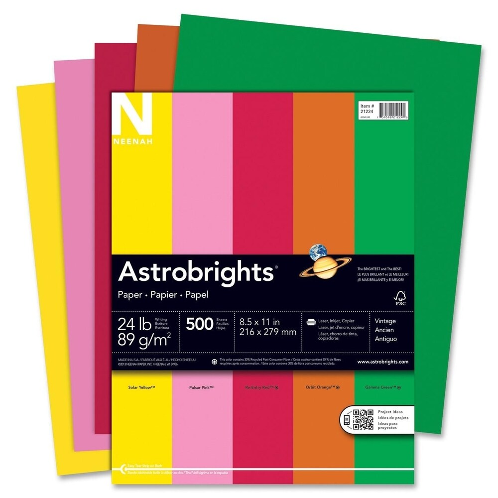 Astrobrights 24lb. Assorted Colors Paper - 1 Ream (Master)