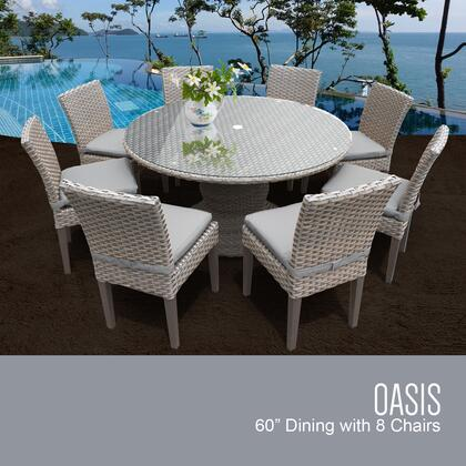 Florence Collection FLORENCE-60-KIT-8C Patio Dining Set with 1 Table   8 Side Chairs - 1 Set of Grey