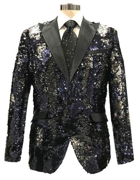 WEF542 Mens Reversible Sequin Black & Silver Blazer with Black Satin