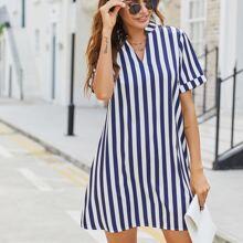 Notched Neck Stripe Shirt Dress